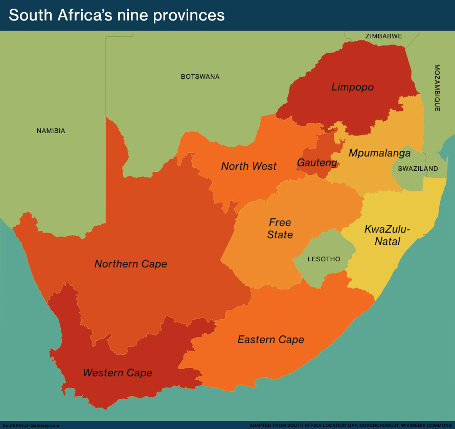 Map of South Africa's nine provinces