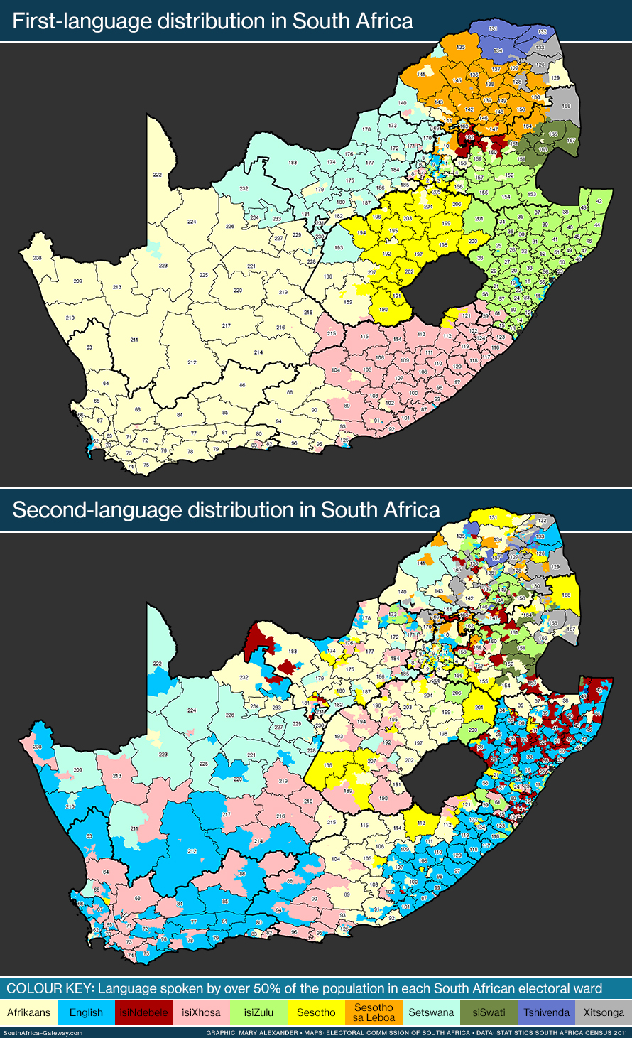 Two maps, the first showing the geographical distribution of first-language speakers, the second showing the geographical distribution of second-language speakers