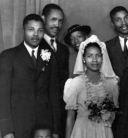 Nelson Mandela and his future first wife Evelyn Mase in the bridal party at Walter and Albertina Sisulu's wedding on 17 July 1944. Mandela was best man. Mandela and Mase were to marry three months later, 5 October 1944.