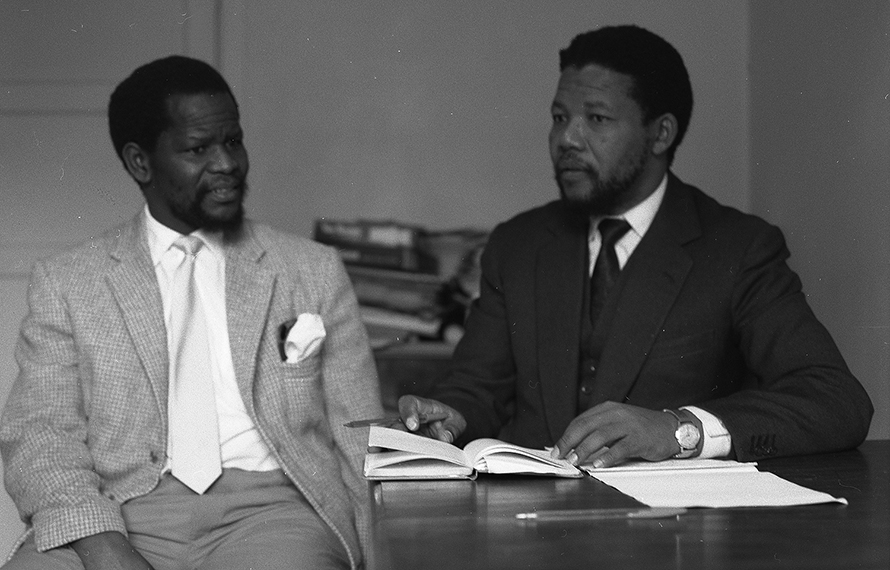 Oliver Tambo and Nelson Mandela, young attorneys and partners in South Africa's first black-owned law firm, in the late 1950s. (The Peto Collection, University of Dundee)