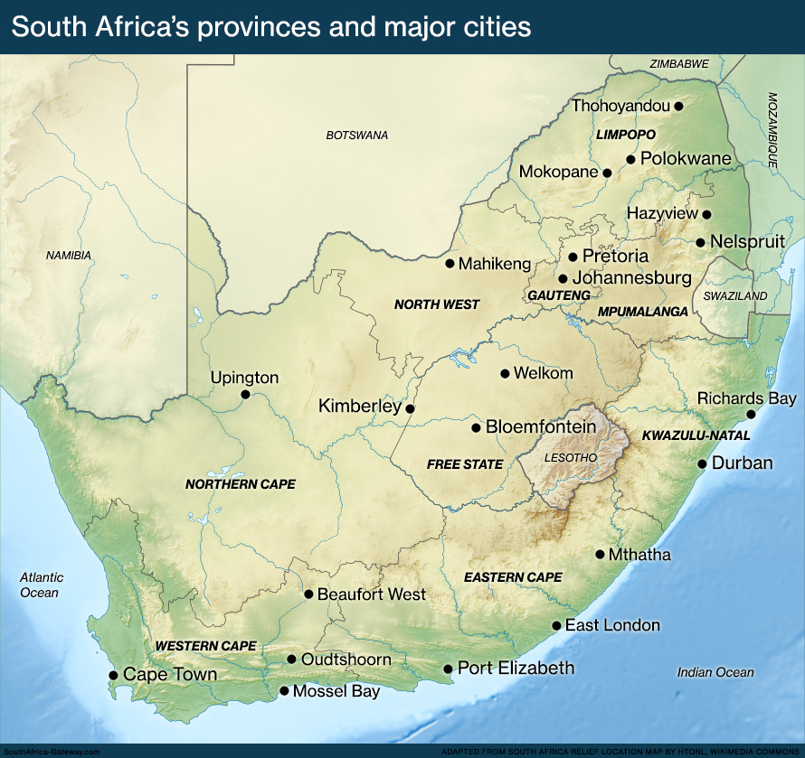 Geographic Map Of South Africa Map of South Africa's geography   South Africa Gateway