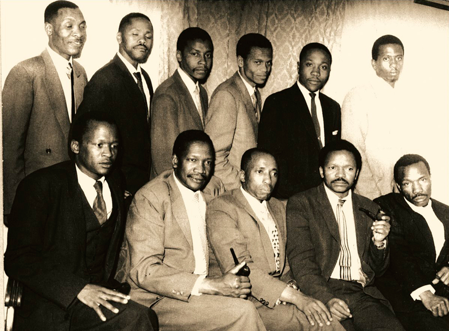 Robert Sobukwe (front row, second from left) with the other founding members of the Pan Africanist Congress.