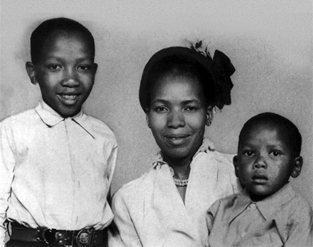Mandela's sons Thembekile (left) and Makgatho with their mother Evelyn Mase in the early 1950s. When Thembekile died in a car crash in 1969, aged just 23, Mandela was not allowed to attend his funeral.
