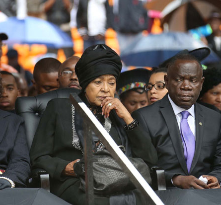 Winnie Madikizela-Mandela, Mandela's wife for almost 30 years, at his memorial service in Johannesburg on 10 December 2013. (GCIS)