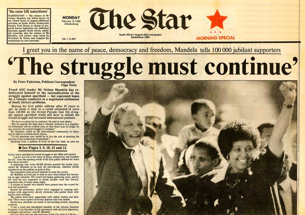 """On 11 February 1990 Mandela made his first public speech, after 27 years in jail, to a crowd of 100 000 gathered on the Grand Parade in Cape Town. There was """"no option"""" but that struggle against apartheid continue until the system was dismantled, he said. """"But we express the hope that a climate conducive to a negotiated settlement will be created soon, so that there may no longer be any need for the armed struggle to continue."""""""