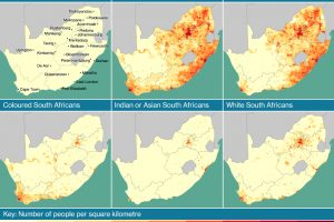 Map showing the distribution of South Africa's population, as well as the population distribution of black, coloured, Indian and white South Africans.