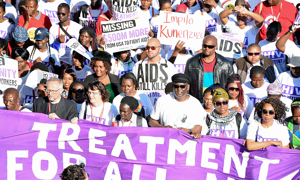 Treatment Action Campaign (TAC) marches to hand over a memorandum. Among them is President Cyril Ramaphosa and UNAids Executive Director Michel Sidibé, Durban, 18/07/2016.