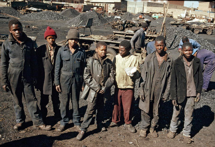 A 1988 image of young South African coal miners, some little more than children, taken by legendary photographer Peter Magubane for the United Nations. (Peter Magubane, CC BY-NC-ND)