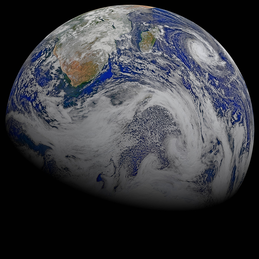 South Africa and the island of Madagascar are the only landmasses visible on the planet in this composite image captured by six orbits of the Nasa-NOAA Suomi National Polar-orbiting Partnership spacecraft on 9 April 2015. Tropical cyclone Joalane can be seen over the Indian Ocean. (Nasa, CC BY-2.0)