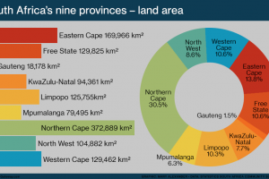 Bar graph and pie chart comparing the land area of South Africa's nine provinces. The provinces are the Eastern Cape, Free State, Gauteng, KwaZulu-Natal, Limpopo, Mpumalanga, Northern Cape, North West and Western Cape.