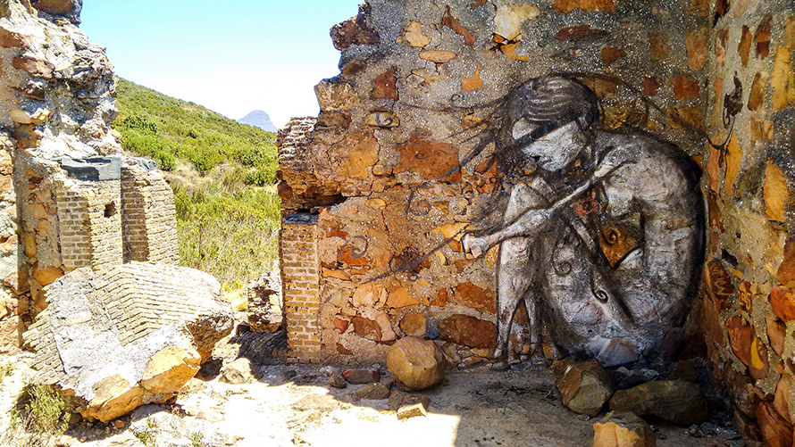 Graffitti captured by a trail runner on Table Mountain's Tafelberg Road, Cape Town. (JB Dodane, CC BY-NC 2.0)
