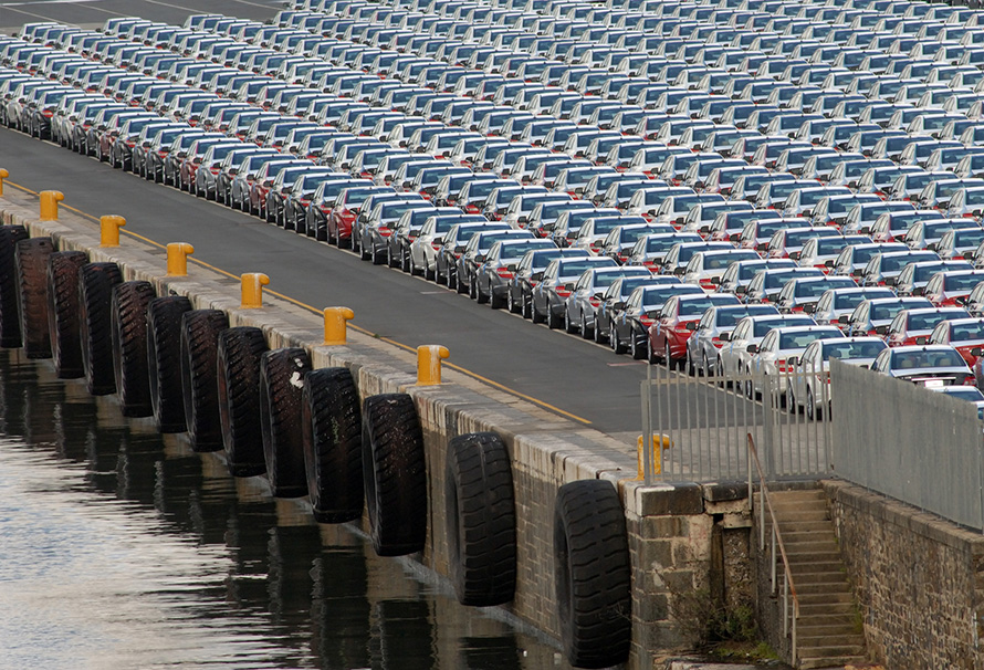Cars ready for export on the loading dock below the Mercedes-Benz factory in East London, the Eastern Cape's second-largest city. The factory largely sustains the city's economy. (Rodger Bosch, Media Club South Africa)
