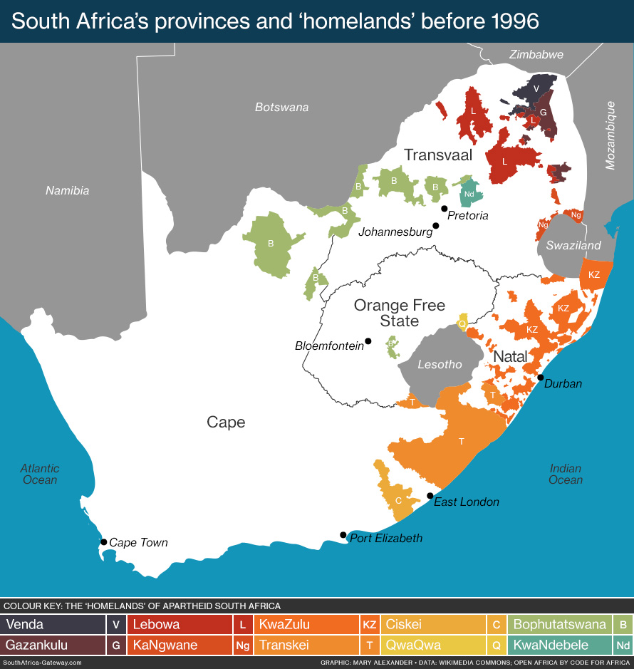 The provinces and homelands of south africa before 1996 south a map of south africa before 1996 showing the 10 spurious homelands established gumiabroncs