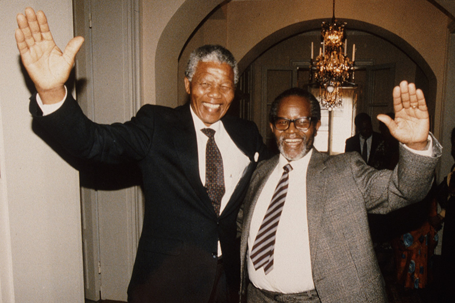 In 1990 Nelson Mandela and Oliver Tambo reunited after three decades apart – the one in prison, the other in exile. (University of the Western Cape Robben Island Mayibuye Museum Archive, courtesy of GCIS)