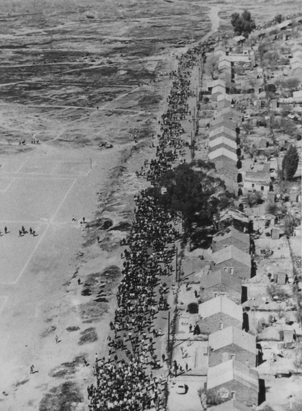 A photographer in a police helicopter captured this view of the students' march, before the shooting started. (Doing Violence to Memory: The Soweto Uprising)