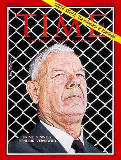 Hendrik Verwoerd on the cover of Time magazine on 26 August 1966