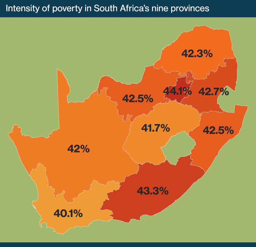 Map of South Africa showing the intensity of poverty in South Africa's nine provinces, according to data from the Statistics South Africa Community Survey 2016.