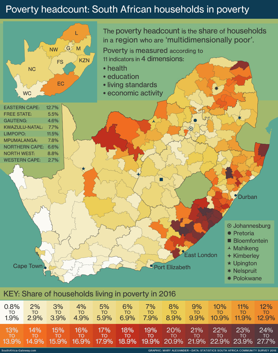 Map of South Africa showing the percentage of housholds living in poverty in each municipality, according to data from the Statistics South Africa Community Survey 2016.