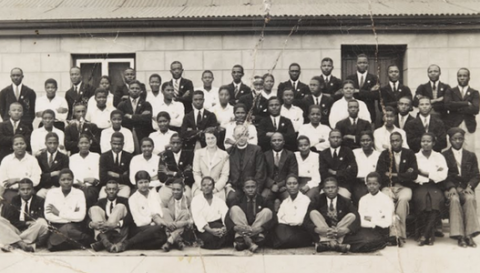 Nelson Mandela with his class at Healdtown College circa 1937 to 1938. Mandela is in the back row, fifth from right.